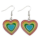 Zinc Alloy Earrings, iron earring hook, Heart, platinum color plated, enamel, nickel, lead & cadmium free, 24x43x1.50mm, Sold By Pair