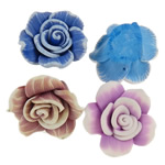 Polymer Clay Beads, Flower, mixed colors, 23-27mm, Hole:Approx 2mm, Approx 100PCs/Bag, Sold By Bag