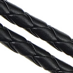 Leather Cord PU woven black 5mm Length:100 m
