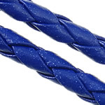 Leather Cord PU woven dark blue 4mm Length:100 m