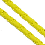 Leather Cord PU woven yellow 4mm Length:100 m