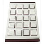 Leather Ring Display Satin Leather with Cardboard Rectangle white 350x240x30mm 5PCs/Bag