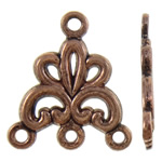 Flower Zinc Alloy Connector antique copper color plated 1/3 loop nickel lead   cadmium free 16.50x19x1.50mm Hole:Approx 1mm Approx 1110PCs/KG