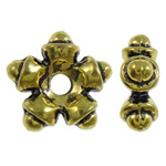 Zinc Alloy Jewelry Spacer Bead, Flower, 5-petal, antique gold color plated, nickel, lead & cadmium free, 9.50x9x3.50mm, Hole:Approx 1.5mm, approx 2000PCs/KG, Sold by KG