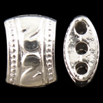 Zinc Alloy Spacer Bar, Nuggets, silver color plated, 3-strand, nickel, lead & cadmium free, 11x8x5.50mm, Hole:Approx 1.5mm, Approx 710PCs/KG, Sold By KG