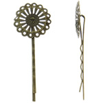 Zinc Alloy Hair Slide, Flower, antique bronze color plated, nickel, lead &amp; cadmium free, 25x65x6mm, 50PCs/Bag, Sold by Bag