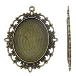 Zinc Alloy Pendant Cabochon Setting, Oval, antique bronze color plated, lead & cadmium free, 48x61.50x2.50mm, Hole:Approx 3mm, 50PCs/Bag, Sold By Bag