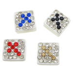 Rhinestone Resin Beads, Square, white, 9x9x5mm, Hole:Approx 2mm ,100PCs/Lot, Sold By Lot