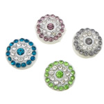 Rhinestone Resin Beads, Coin, mixed colors, 12x12x6mm, Hole:Approx 2mm ,100PCs/Lot, Sold By Lot