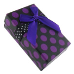 Cardboard Jewelry Set Box, with Satin Ribbon, Rectangle, with round spot pattern, purple, 50x79x26mm, 48PCs/Bag, Sold By Bag