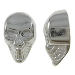 Copper Coated Plastic Beads, Skull, platinum color plated, half-drilled, nickel, lead & cadmium free, 9.50x15x6mm, Hole:Approx 2mm, Approx 2000PCs/KG, Sold By KG
