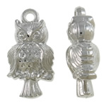 Copper Coated Plastic Pendant, Owl, platinum color plated, nickel, lead & cadmium free, 16.50x32x10mm, Hole:Approx 3mm, Approx 500PCs/KG, Sold By KG