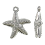 Copper Coated Plastic Pendant, Starfish, platinum color plated, nickel, lead & cadmium free, 24x26.50x6mm, Hole:Approx 1.5mm, Approx 1100PCs/KG, Sold By KG