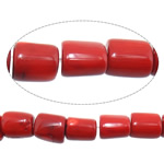 Natural Coral Beads Tube red 9-12x10-15mm Hole:Approx 1.5mm Length:Approx 17 Inch 10Strands/Lot Approx 36PCs/Strand