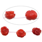 Natural Coral Beads Flower Carved red 9-12x9-12x7-8mm Hole:Approx 1.5mm Approx 21PCs/Strand Sold Per Approx 16 Inch Strand