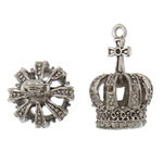 Zinc Alloy Pendant Rhinestone Setting Crown antique silver color plated hollow lead   cadmium free 18x28mm Hole:Approx 2mm 10PCs/Bag