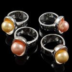 кольцо из ракушки, Латунь, с южноморская ракушка, плакирован серебром, разнообразный, не содержит никель, свинец, 20.50x30x18.50mm, размер:6.5, 2ПК/сумка, продается сумка