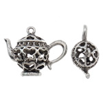 Zinc Alloy Pendant Rhinestone Setting Teapot antique silver color plated hollow lead   cadmium free 33.50x25.50x23mm Hole:Approx 2mm 50PCs/Bag