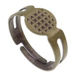 Pierścien ze stopu cynku, Stop cynku, Platerowane kolorem starego brązu, regulowany, bez zawartości ołowiu i kadmu, 18x17x8mm, otwór:około 1mm, rozmiar:6.5, 500komputery/torba, sprzedane przez torba