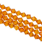 Bicone Crystal Beads, Kristal, gefacetteerde, Topaas, 8x8mm, Gat:Ca 1.5mm, Lengte:12.5 inch, 10strengen/Bag, Verkocht door Bag