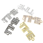 Letter Zinc Alloy Connector, plated, with rhinestone & 1/1 loop, mixed colors, nickel, lead & cadmium free, 44x15x2.80mm, Hole:Approx 3.3mm, 50PCs/Bag, Sold By Bag