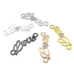 Letter Zinc Alloy Connector, word love, plated, with rhinestone & 1/1 loop, mixed colors, nickel, lead & cadmium free, 38.50x13x2mm, Hole:Approx 3.3mm, 100PCs/Bag, Sold By Bag