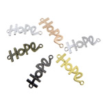 Letter Zinc Alloy Connector, word hope, plated, 1/1 loop, mixed colors, nickel, lead & cadmium free, 41.50x14x1.80mm, Hole:Approx 3mm, 100PCs/Bag, Sold By Bag
