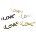 Letter Zinc Alloy Connector, word love, plated, 1/1 loop, mixed colors, nickel, lead & cadmium free, 39x12x1.50mm, Hole:Approx 3.2mm, 100PCs/Bag, Sold By Bag