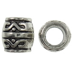Zinc Alloy European Beads, Drum, antique silver color plated, without troll & large hole, nickel, lead & cadmium free, 8x8mm, Hole:Approx 4mm, approx 1100PCs/KG, Sold by KG