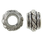 Zinc Alloy European Beads, Rondelle, antique silver color plated, nickel, lead & cadmium free, 8x5mm, Hole:Approx 4mm ,1660PCs/KG, Sold By KG