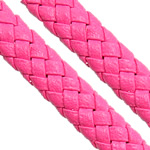 Leather Cord PU woven pink 10.50x4.50mm 100m/Lot