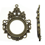 Zinc Alloy Pendant Cabochon Setting, Teardrop, antique bronze color plated, nickel, lead & cadmium free, 47x63.50x2.50mm, Hole:Approx 3mm, Approx 70PCs/KG, Sold By KG