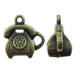 Zinc Alloy Tool Pendants, Telephone, antique bronze color plated, nickel, lead & cadmium free, 14x14.50x8.50mm, Hole:Approx 1mm, Approx 340PCs/KG, Sold By KG