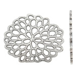 Flower Zinc Alloy Connector, antique silver color plated, nickel, lead & cadmium free, 31x26x1.50mm, Hole:Approx 3mm, Approx 300PCs/KG, Sold By KG