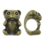 Zinc Alloy European Beads, Bear, antique bronze color plated, without troll, nickel, lead &amp; cadmium free, 7.50x10x7.50mm, Hole:Approx 4.5mm, approx 765PCs/KG, Sold by KG