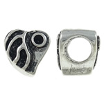 Zinc Alloy Beads Setting, Heart, antique silver color plated, large hole, nickel, lead & cadmium free, 9x9x8.50mm, Hole:Approx 5mm, 10PCs/Bag, Sold By Bag