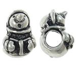 Pandor Kerst Kralen, Zinc Alloy, Sneeuwpop, antiek zilver plated, zonder troll, nikkel, lood en cadmium vrij, 8.50x13.50x9.50mm, Gat:Ca 5mm, 10pC's/Bag, Verkocht door Bag