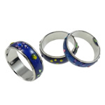 кольцо с эмалью настроения , Латунь, Платиновое покрытие платиновым цвет, настроение эмаль & со стразами & разнообразный, не содержит никель, свинец, 6mm, внутренний диаметр:Приблизительно 17mm, размер:6.5, 100ПК/сумка, продается сумка