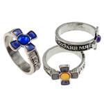 кольцо с эмалью настроения , Латунь, Kресты, плакированный цветом под старое серебро, настроение эмаль, не содержит никель, свинец, 13-14mm, размер:6.5, 100ПК/Box, продается Box