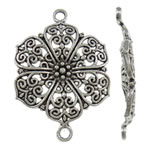 Flower Zinc Alloy Connector, antique silver color plated, 1/1 loop, nickel, lead & cadmium free, 28x41x3mm, Hole:Approx 3mm, Approx 210PCs/KG, Sold By KG
