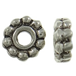 Zinc Alloy Jewelry Spacer, Flower, antique silver color plated, nickel, lead & cadmium free, 7x7x2.50mm, Hole:Approx 1.5mm, approx 2170PCs/KG, Sold by KG