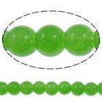 الخرز أزياء زجاج, جولة, بلون, التفاح الأخضر, 6mm, حفرة:تقريبا 1.5mm, طول:تقريبا 31.5 بوصة, 10جدائل/حقيبة, تباع بواسطة حقيبة