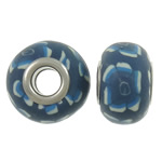 European Polymer Clay Jewelry Beads , Rondelle, brass double core without troll & large hole, blue, 15x10.5mm, Hole:Approx 5mm, 100PCs/Bag, Sold by Bag