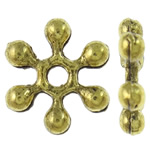 Zinc Alloy Spacer Beads, Snowflake, antique gold color plated, nickel, lead & cadmium free, 10x2mm, Hole:Approx 1.5mm, approx 3070PCs/KG, Sold by KG