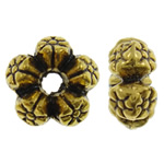 Zinc Alloy Spacer Beads, flower, antique gold color plated, nickel, lead & cadmium free, 8x4mm, Hole:Approx 2mm, approx 2000PCs/KG, Sold by KG