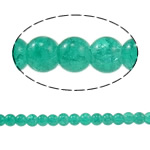 Crackle Glass Beads, Round, dark green, 6mm, Hole:Approx 1mm, Length:Approx 31.4 Inch, 10Strands/Bag, Sold By Bag
