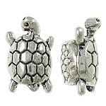 Zinc Alloy European Beads, Turtle, antique silver color plated, without troll, nickel, lead &amp; cadmium free, 11x16x8mm, Hole:Approx 5mm, approx 470PCs/KG, Sold by KG