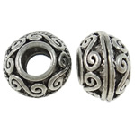Zinc Alloy European Beads, Rondelle, antique silver color plated, without troll, nickel, lead &amp; cadmium free, 8x12mm, Hole:Approx 5mm, 100PCs/Bag, Sold by Bag