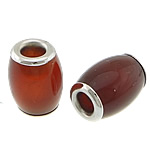 Natural Red Agate Beads, Drum, platinum color brass core, with large hole, 10.50x15mm, Hole:Approx 4mm, 10PCs/Lot, Sold by Lot