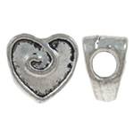 Zinc Alloy European Beads, Heart, antique silver color plated, without troll, nickel, lead &amp; cadmium free, 11x10.50x2mm, Hole:Approx 4.5mm, approx 450PCs/KG, Sold by KG